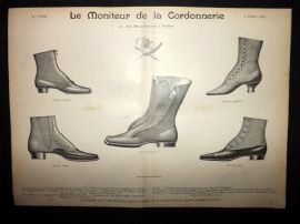 Le Moniteur de la Cordonnerie 1894 Rare Antique Shoe Design Print 06